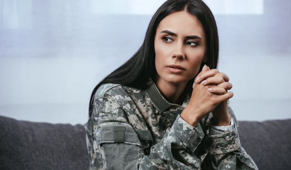 portrait of thoughtful female soldier